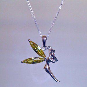 peridot quartz and CZ necklace